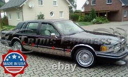 1990-1994 Lincoln Town Car Sedan Chrome Rocker Panel Molding Trim 7 3/4 8Pc BW