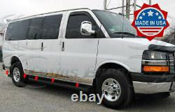 1998-2021 Chevy Express/Savana Folded Cargo Van 4 Door SWB Rocker Panel Trim 8Pc