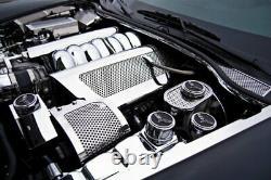 2005-2013 Corvette Manual 6pc Carbon Fiber Chrome & Stainless Engine Cap Covers