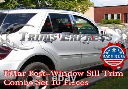 2006-2011 ML350 ML550 10pc Pillar Post+Window Sill Trim Combo W164 Stainless
