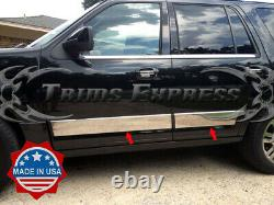 2007-2017 Ford Expedition 4Pc Chrome Rocker Panel Trim 6 Stainless Steel