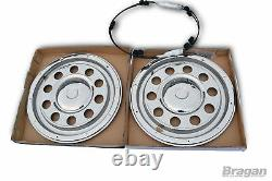 22.5 Swedish Style Stainless Steel Chrome Rear Wheel Trims Covers Truck Lorry