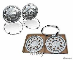 22.5 Swedish Style Stainless Steel Front + Rear Wheel Trim Covers Truck Lorry