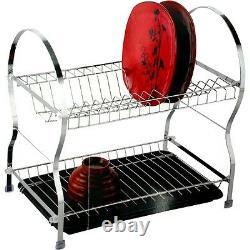 2 Tier Dish Drainer Stainless Steel Kitchen Storage Drip Tray Chrome Plates New