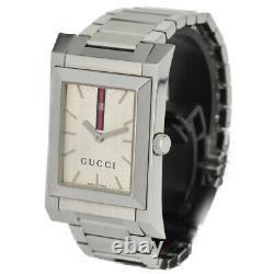 Auth GUCCI 111M Silver Dial Stainless Steel Quartz Men's Watch Y#C0064