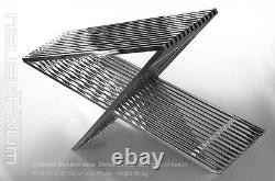 Bauhaus stainless steel coffee table living room with acrylic distance pieces