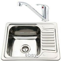 Compact Stainless Steel Kitchen Sink & Small Chrome Sink Mixer Tap Set (KST072)