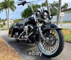 Fat Spoke Wheel 21x3.5 Black Stainless Spokes Harley Touring Bagger Rotors Tire
