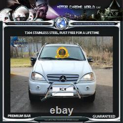 Fits Mercedes ML W163 Chrome Nudge Push A-bar Stainless Steel Bull 1998-2005 Nx1