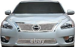 Fits Nissan Altima 4dr 2013-2015 Stainless Chrome Mesh Grille Top Bottom Inserts