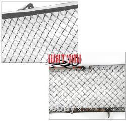 For 05-10 300 Upper+fog Light Cover Stainless Steel Mesh Grille Chrome 3pcs