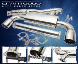 For 08-14 Lancer Evolution Evo 10 X Dual 4 Tip Catback Exhaust System Chrome
