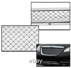 For 11-14 200 Front Upper + Bumper Stainless Steel Mesh Grille Chrome 2pcs