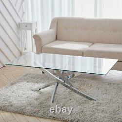 Glass Coffee Table Chrome Stainless Steel Modern Tempered Glass Living Room UK