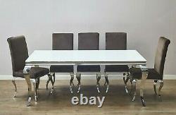 Louis Dining Chair High Velvet Brown Truffle Mink Stainless Steel Chrome Legs