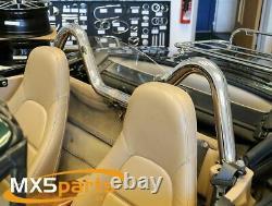 MX5 Chrome Stainless Style Roll Bar V Shape Mazda MX-5 Mk1 Mk2 NA NB 19892005
