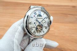 Mens Automatic Mechanical Watch Silver White Dial Stainless Steel 3109B