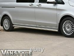 Mercedes Viano Compact & Long Van W639 Polished Stainless Steel Side Bars Chrome