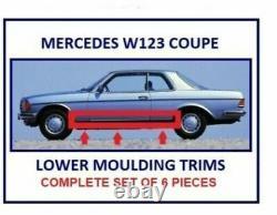 Mercedes W123 Coupe rocker panel lower moulding trim set of 6 Pieces