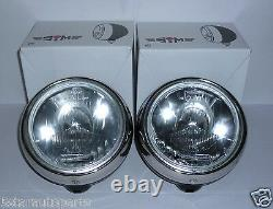 Pair Of Stainless Steel Chrome 7 Inch Cibie Oscar H3 Replica Spot Lights Lamps