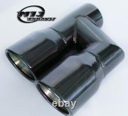 Pair Of Twin Black Chrome Exhaust Tailpipes Stainless To Suit Audi A4 A5 A6 A7