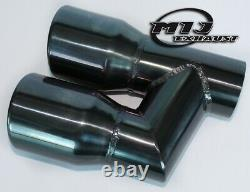 Pair Of Twin Black Chrome Exhaust Tailpipes Stainless To Suit Mercedes AMG Style