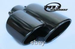 Porsche Style Twin Black Chrome Exhaust Tailpipe Stainless Steel Sport Trim Tips