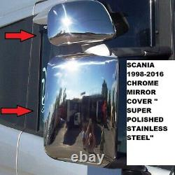 Scania 1998-2016 Chrome Mirror Cover'' Stainless Steel'' 4 Pcs