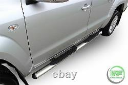 Side bars CHROME stainless steel side steps pair for VW Amarok 2010-up