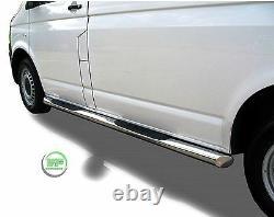 Side bars CHROME stainless steel side steps pair for VW Transporter T5 2004-15