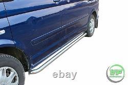 Side bars CHROME stainless steel steps pair for VW TRANSPORTER T5 SWB 2003-2015