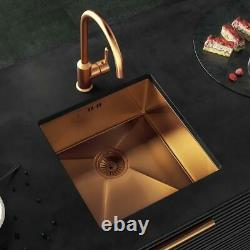 Single Bowl Inset/Undermount Brushed Copper Stainless Steel Kitchen Sink & Waste