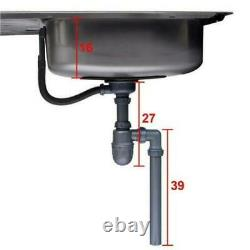 Single Bowl Stainless Steel Double Drainer Inset Kitchen Sink Twin Tap Hole New