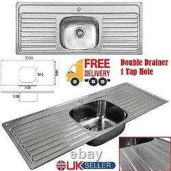 Stainless Steel Double Drainer 1 Bowl Inset Kitchen Sink 1 Tap Hole 1310 x 500mm
