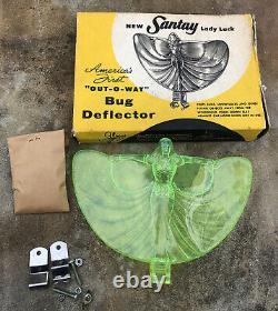 Vtg NOS 50s Santay Lady Luck Bug Deflector Plastic Wind Hood Ornament Accessory