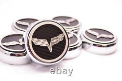 2005-2013 Corvette Manuel 6pc Fibre De Carbone Chrome Et Couvercles De Moteur Inoxydable