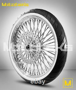 21 Fat Spoke Roue 21x3.5 Dna 52 Avant Inoxydable Harley Softail Rotor White Tire
