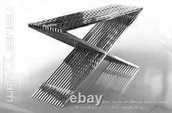 Bauhaus Table Basse En Acier Inoxydable Salon Avec Pièces De Distance Acrylique