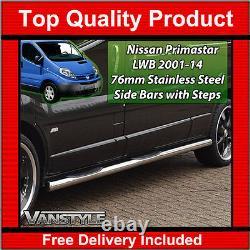 Convient Nissan Primastar 01-14 76mm Lwb 3 Étapes Barres Latérales En Acier Inoxydable Chrome