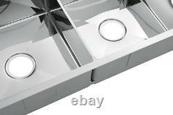 Évier De Cuisine Double Bol En Acier Inoxydable Chrome Poli Avec Draineur R10 MM