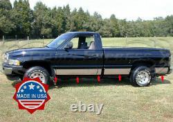 Fit1994-1997 Dodge Ram Regular Cab Long Bed Rocker Panel Trim 8 1/2 10pc