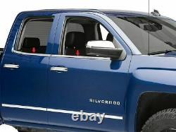 Fit 2014-2018 Chevy Silverado + Gmc Sierra 1500 Sill De Fenêtre En Acier Inoxydable Double Cabine