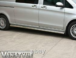Mercedes Vito W447 Compact & Long 14+ Barres Latérales En Acier Inoxydable Poli Chrome