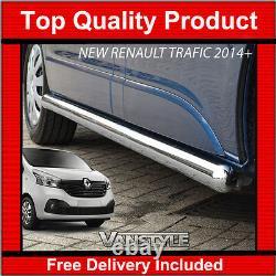 Nouveau 2014+ Renault Trafic 76mm H/dust Swb Barres Latérales En Acier Inoxydable Chrome Étapes