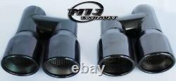 Paire De Jumelles D'échappement De Chrome Noir Inoxydable Pour La Combinaison Audi A4 A5 A6 A7
