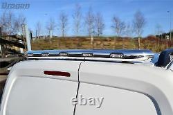 Pour Fit 14-18 Mercedes Sprinter Chrome Acier Inoxydable Barre De Toit Arrière De Lumière + Leds