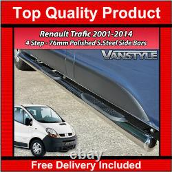 Renault Trafic 2001-2014 76mm 4 Étapes Lwb Barres Latérales Acier Inoxydable Chrome Étapes