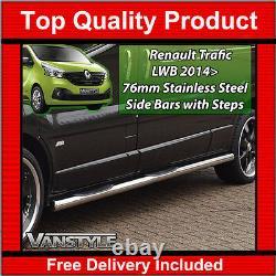 Renault Trafic 2014+ 76mm 3 Step Lwb Barres Latérales Acier Inoxydable Chrome Steps Rhd