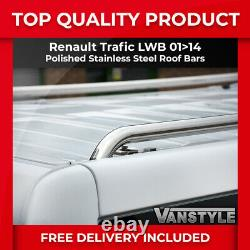 Renault Trafic Lwb 200114 Barres De Toit En Acier Inoxydable Chromé Poli Rack De Rails
