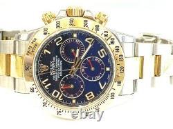 Rolex Tutone Or Jaune 18k Acier Inoxydable Daytona Blue Racing Cadran 116523